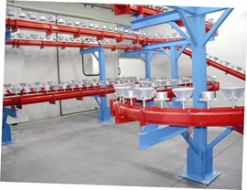 Complete system for painting metal parts with floor conveyor