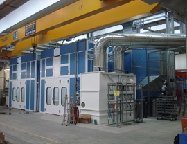 Pressurized oven booths with wet filtering system and upper openings for inserting pieces with overhead crane
