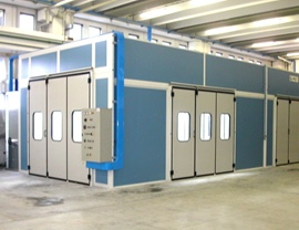 Pressurized oven booth with front and side doors