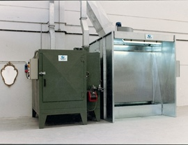 Small compact static oven (T 200 ° C) and water curtain booth