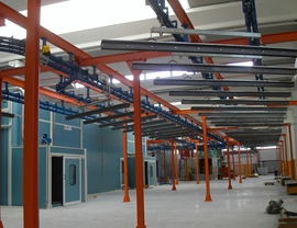 Double accumulation line of the hangers for the loading and unloading of the pieces