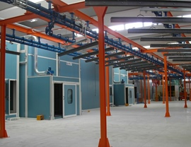 Double accumulation line of the hangers for the loading and unloading of the pieces with a view of the pressurized booths in line